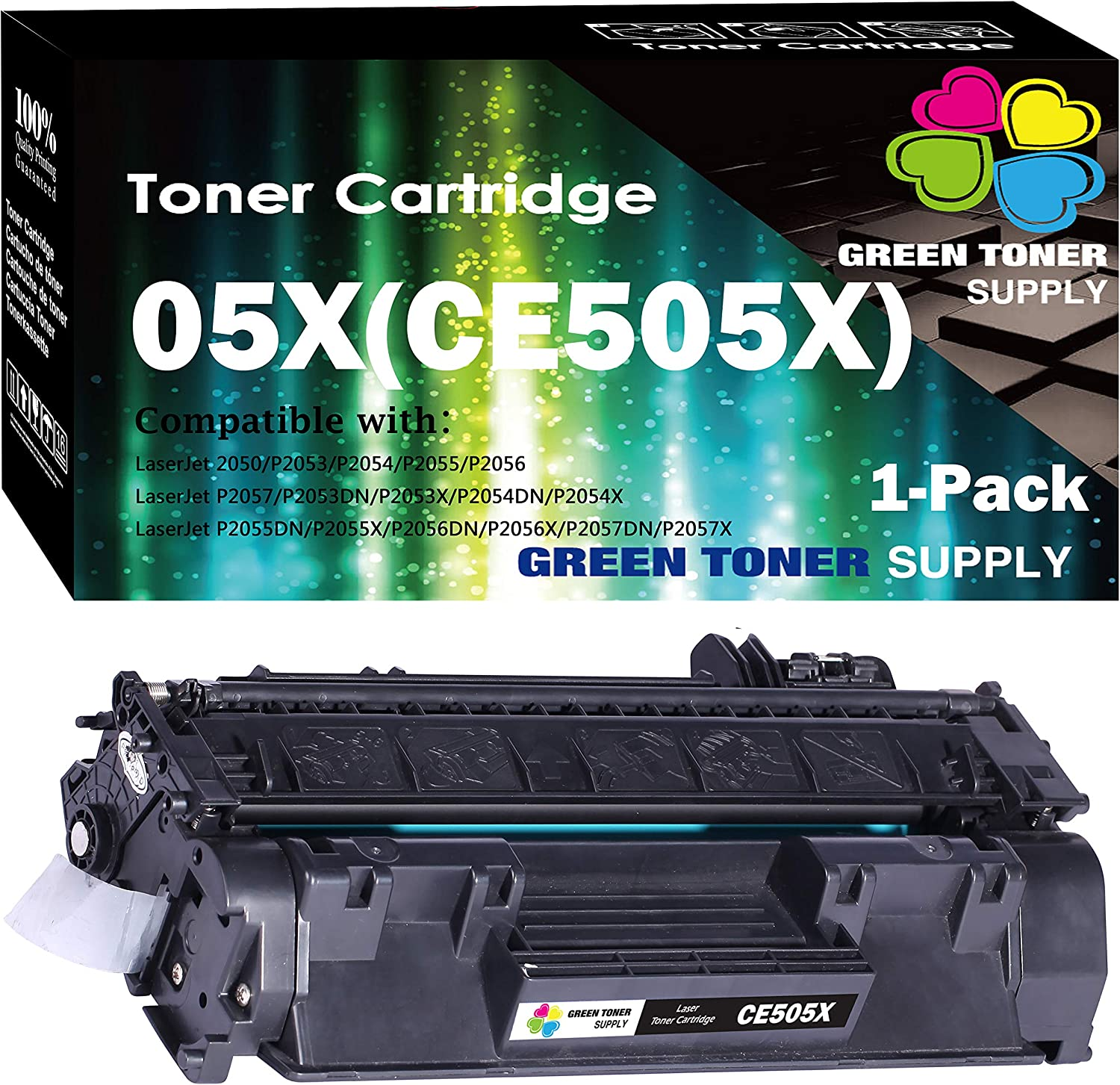 (1-Pack) Compatible 05X CE505X Toner Cartridge 505X Used HP Laserjet P2055dn P2055 P2055D P2055X Pro 400 Pro 400 M401n M401dne M401dw MFP M425dn Printer, by GTS