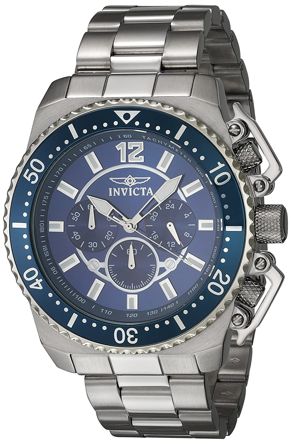Invicta Men s Pro Diver Quartz Watch with Stainless-Steel Strap, Silver, 24 Model 21953