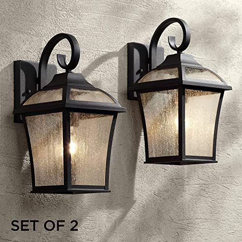 Mosconi Traditional Outdoor Wall Lights Fixture Set of 2 Carriage Style Textured Black Lantern 15″ Clear Seedy Gla