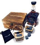 Cold Edge Whiskey Stones Gift Set - 8 Pure Granite Chilling Stones, 2 Large 8.8 oz. Premium Whiskey Drinking Glasses, Handcrafted Gift Case, Chills Drink, No Dilution, A Perfect Birthday Gift for Him!