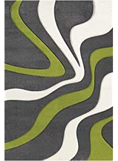 Traum Design and modern rug short pile living room carpet forest in green white size 120x170 cm