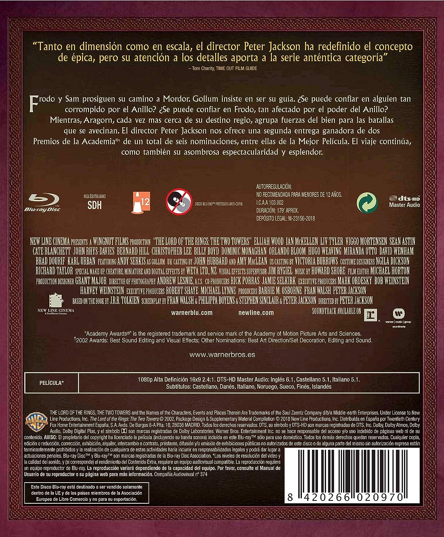 El Señor De Los Anillos: Las Dos Torres Ed. Cinematográfica Blu-Ray Blu-ray: Amazon.es: Elijah Wood, Viggo Mortensen, Ian Mckellen, Sean Astin, Andy Serkis, ...