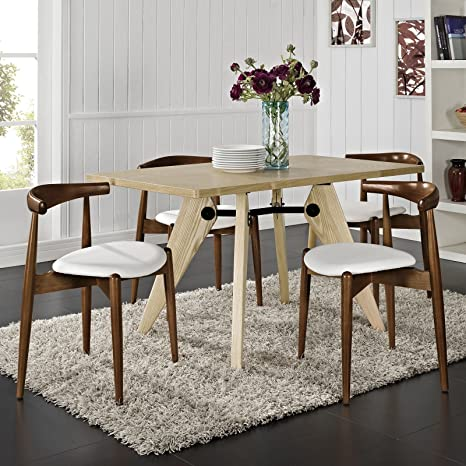 Superb Modway Stalwart Mid Century Modern Faux Leather Upholstered Beechwood Four Kitchen And Dining Room Chairs In Dark Walnut White Inzonedesignstudio Interior Chair Design Inzonedesignstudiocom