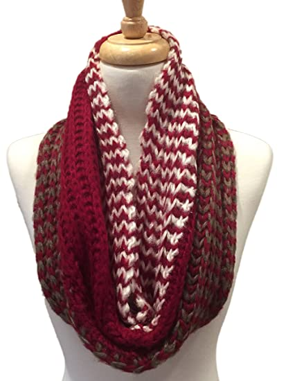 Womens Knit Multi Patterned Infinity Scarf Red And White At
