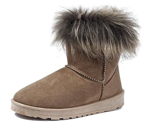 AgeeMi Shoes Mujeres Invierno Nieve Botas Pelo Largo Bota Clásicas Botines,EuX10 Marrón 41: Amazon.es: Zapatos y complementos
