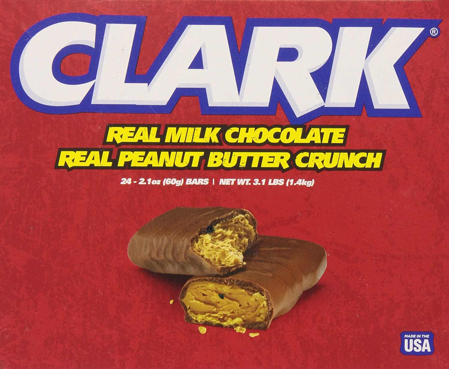 Amazon.com : Necco Clark Bars, 2.1-Ounce (Pack of 24) : Breakfast Bars :  Grocery & Gourmet Food