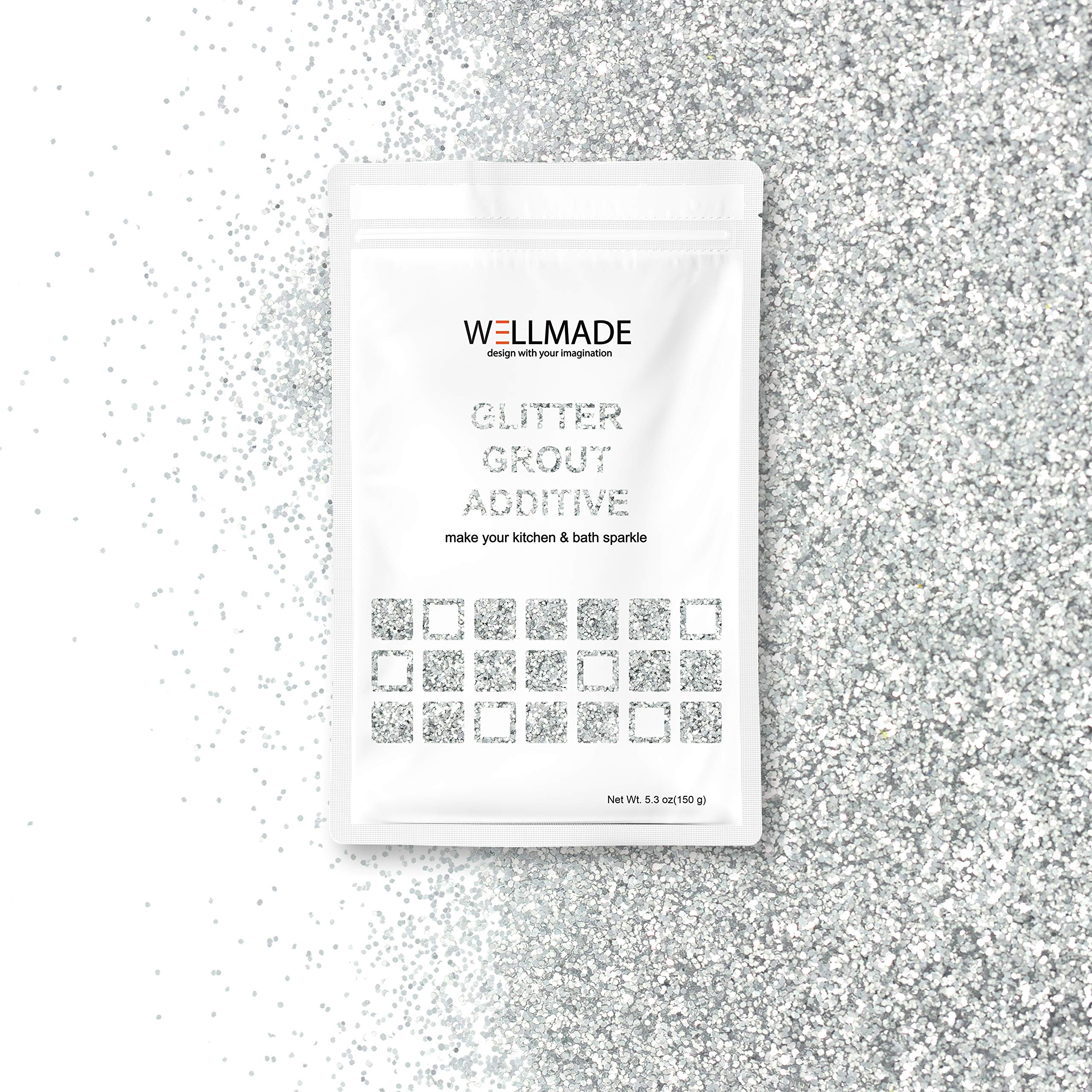 Glitter Grout Tile Additive 150g/5.3oz Glitter for Wall/Floor Tile Grout-DIY Home Wet Room Bathroom Kitchen Sparkle, Add/Mix with Epoxy Resin or Cement Based Grout (150g/5.3oz, Silver)