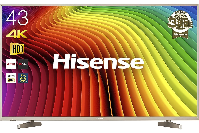 6位.Hisense 43V型4K対応液晶テレビ HJ43N5000