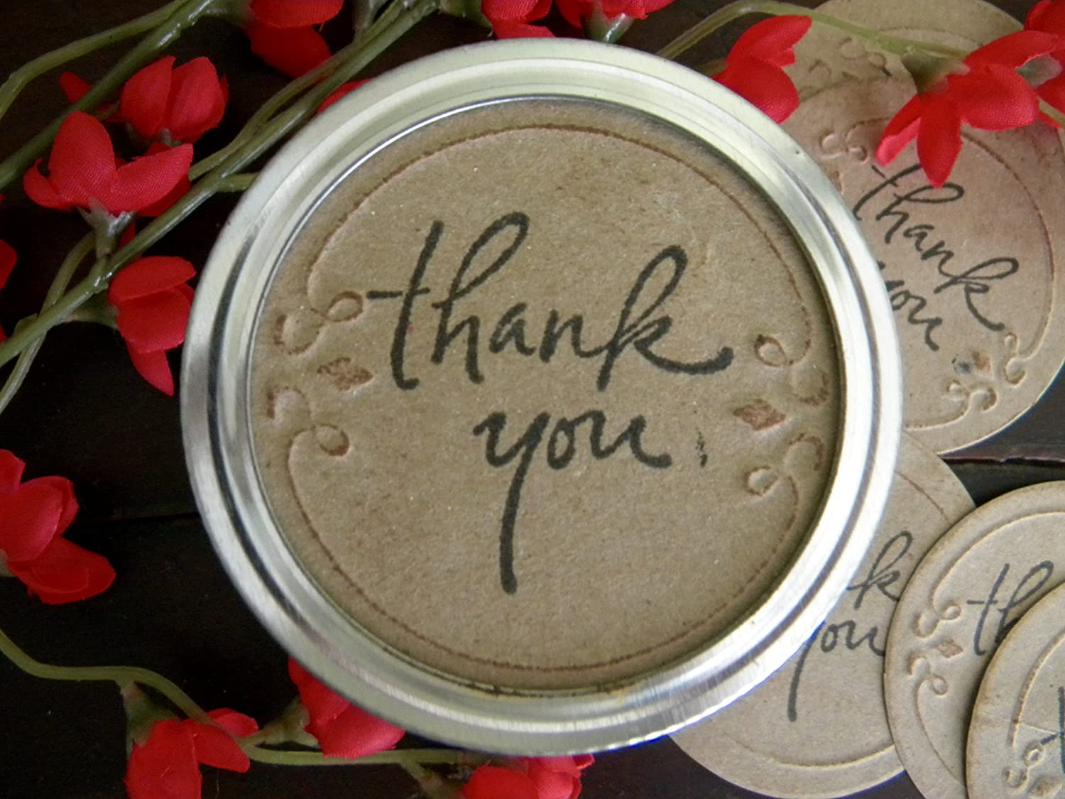 Amazon Com Mason Jar Labels All Occasion Gift Tags Thank You Jar Stickers Mason Jar Lid Inserts Gifts In A Jar Tags Canning Jar Labels Handmade