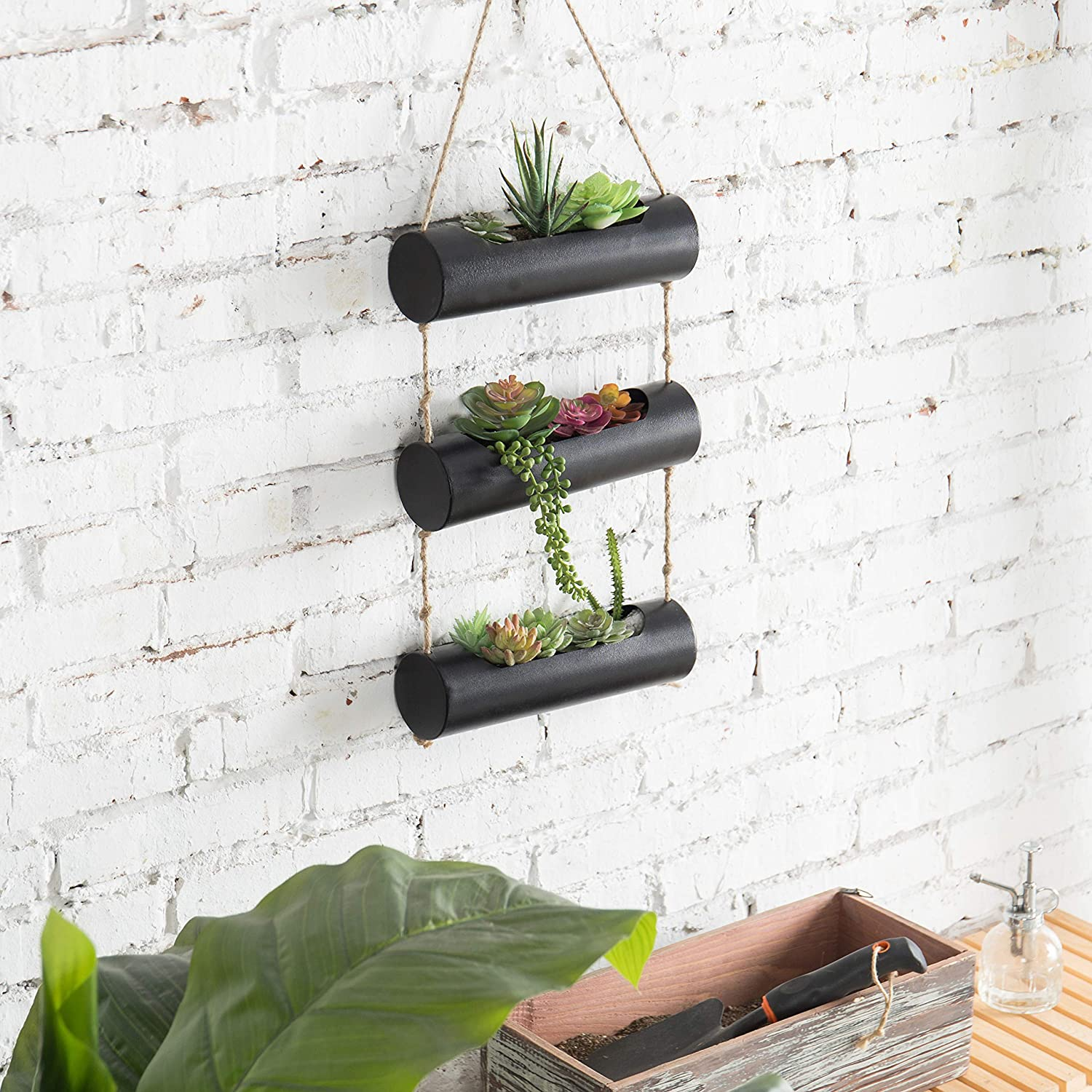MyGift 3-Tier Black Metal Wall-Hanging 10-Inch Cylinder Trough-Style Planter for Succulent Cactus Plants