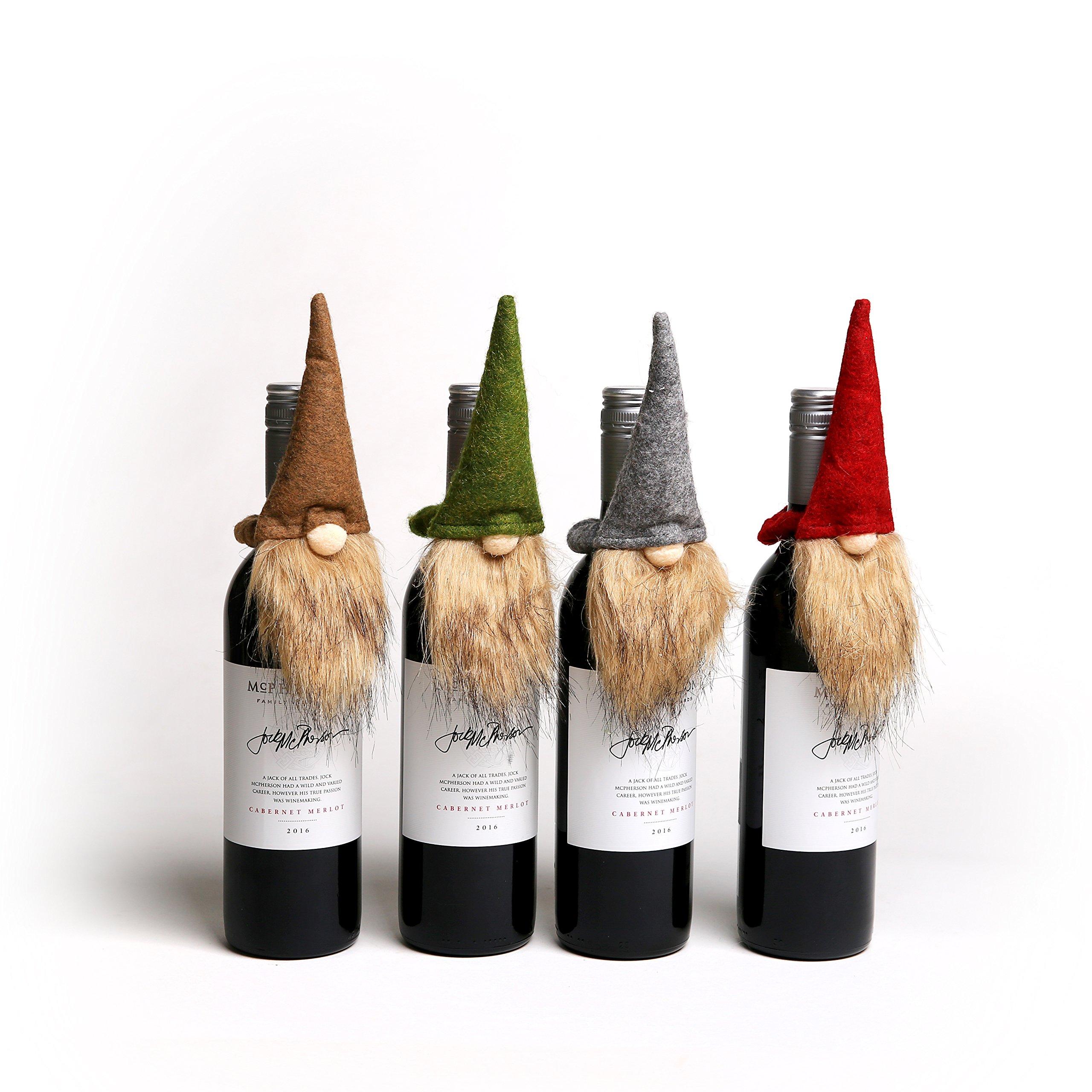 Handmade Swedish Tomte Bottle Topper, Mini Gnome Wine Bottle Topper for Home Holiday Decoration, Hostess/Housewarming Gift, Party/Wedding Favor Bottle Decor, 4 Packs