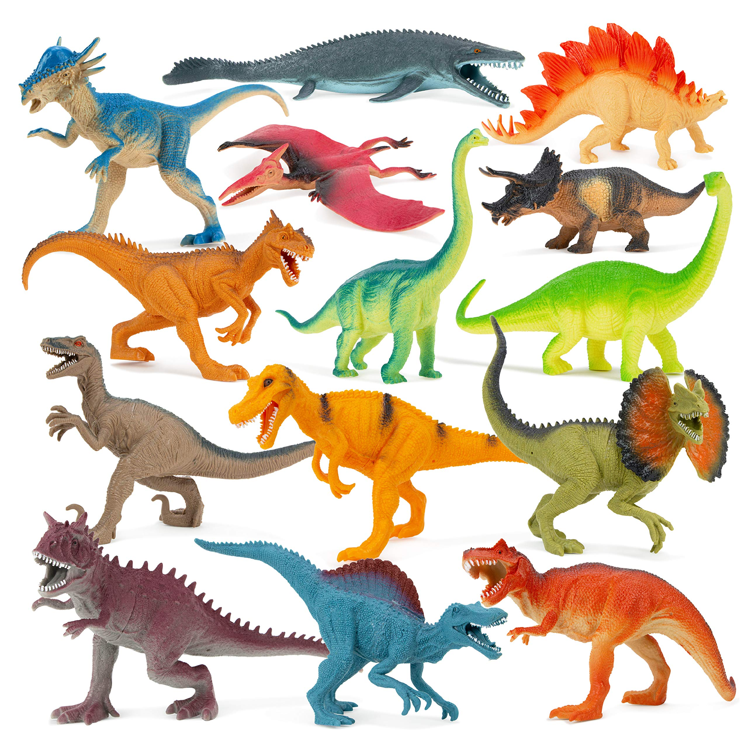 Boley Dinosaur Book Bundle - 14 Pack Dinosaur Toys for Kids with Educational Dino Guide Pamphlet - Dinosaur Figures for Boys and Girls Ages 3 and Up