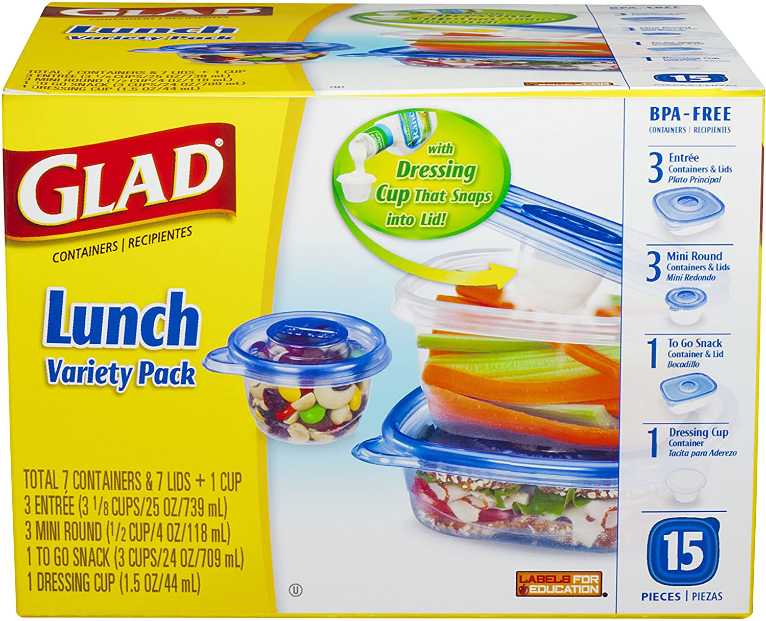 Glad Food Storage Containers, Lunch Variety Pack, 15 Count