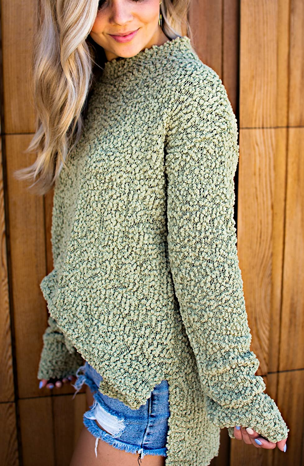 FISACE Womens Sherpa Fleece Fuzzy Long Sleeve Side Slit Cable Knitted Pullover Sweater Jumper