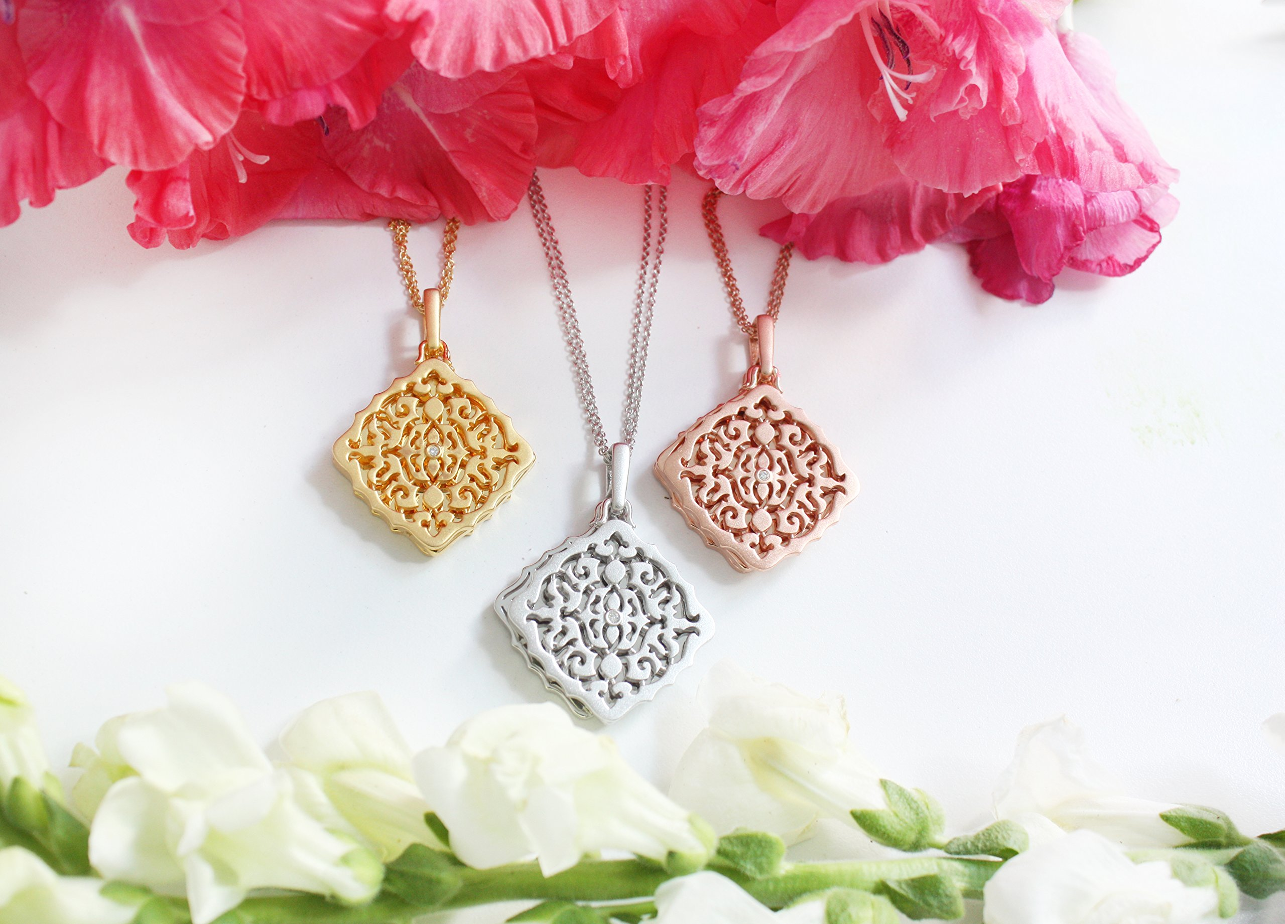 With You Lockets Yellow Gold-Diamond-Square-Custom Photo Locket Necklace-22-inch chain-The Mimi by by With You Lockets (Image #8)