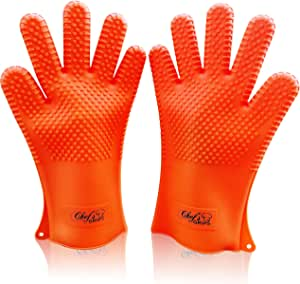 LONGEST Heat Resistant Kitchen Cooking Premium Glove Set | Best Quality Design Stain & Slip Resistant Silicon Gloves | Waterproof | Mitts for Oven Baking, Grill & BBQ | Orange