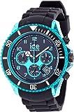 ICE-Watch - Montre Mixte - Quartz Analogique - Ice-Chrono Electrik - Black - Turquoise - Big Big - Cadran Noir - Bracelet Silicone Noir - CH.KTE.BB.S.12