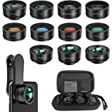 Phone Camera Lens,11 in 1 Cell Phone Lens Kit for iPhone and Android, 0.36X Wide Angle Lens+198°Fisheye Lens+20X Macro…
