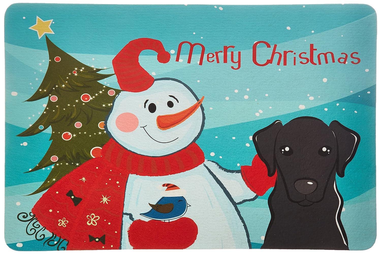 Carolines Treasures BB1855CMT Snowman with Black Labrador Kitchen or Bath Mat Multicolor 20 by 30