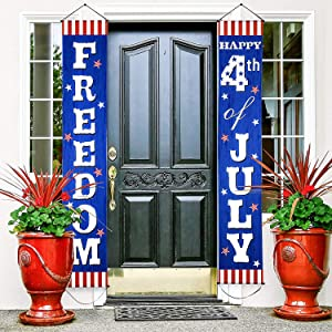Fourth of July Decoration Patriotic Porch Sign Welcome Sign Decoration Set 4th of July Patriotic Welcome Banner Patriotic Party Supply Decor Independence Day Decorations (Blue Red 4th of July)