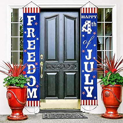 Amazon Com Fourth Of July Decoration Patriotic Porch Sign Welcome Sign Decoration Set 4th Of July Patriotic Welcome Banner Patriotic Party Supply Decor Independence Day Decorations Blue Red 4th Of July Toys