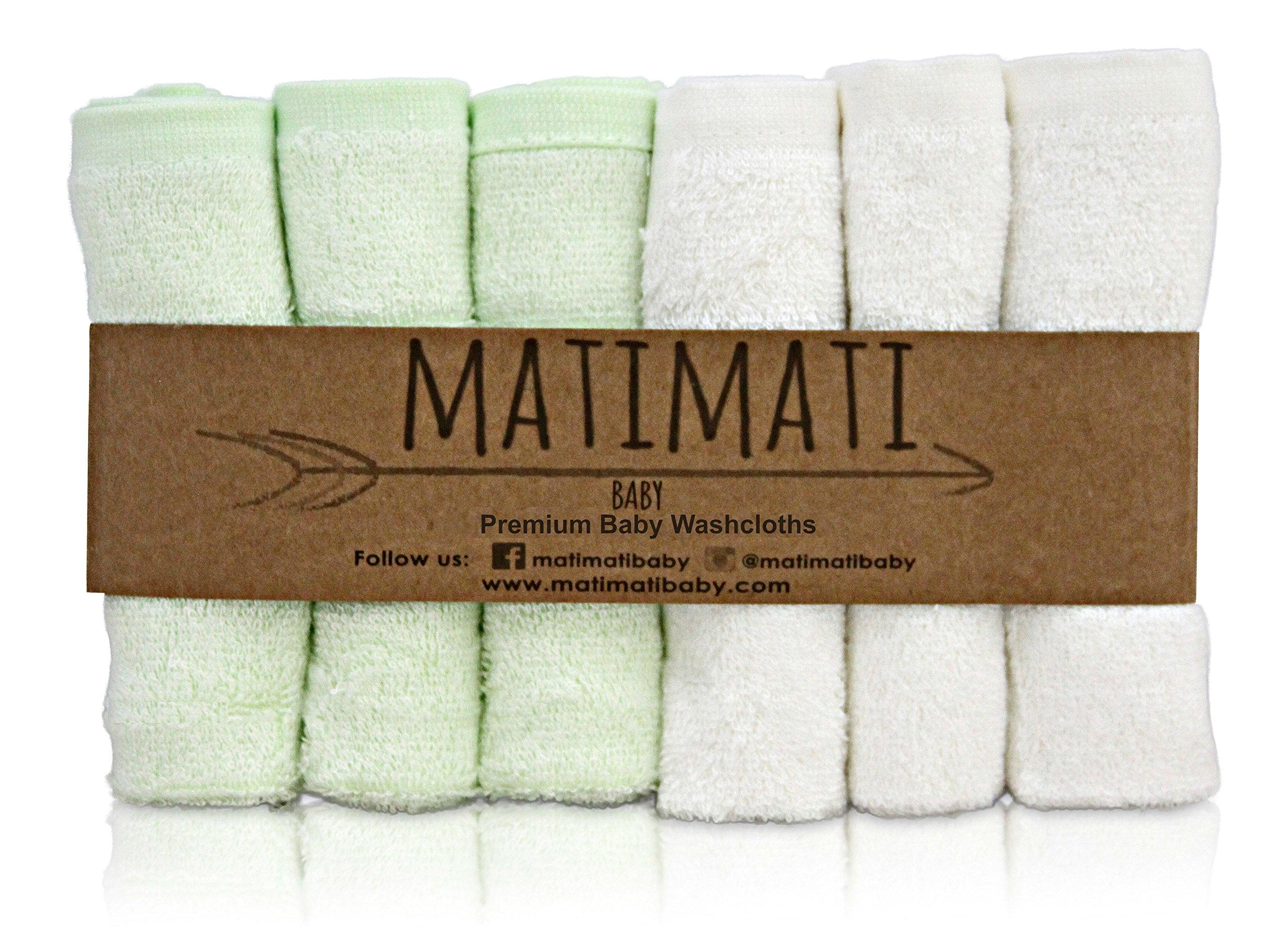 """Matimati Rayon From Bamboo Baby Washcloths (6-pack) - Soft & Absorbent Towels For Baby's Sensitive Skin - Perfect 10""""x10"""" Reusable Wipes - Excellent Shower / Registry Gift"""