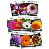 Sow Right Seeds Flower Garden Collection - Sunflower, Marigold, Zinnia, Cosmos, Daisy, Calendula, Coneflower, Aster, and Bachelor's Button; Full instructions for planting, Wonderful gardening gifts