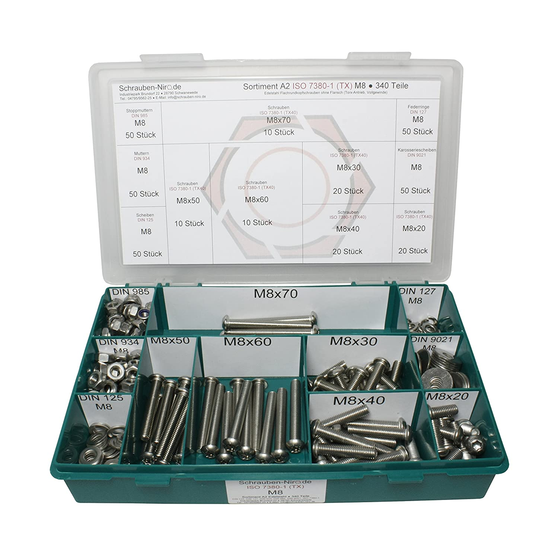 Sortiment M8 ISO 7380-1 Edelstahl A2 V2A - Set bestehend aus Schrauben Unterlegscheiben und Muttern - 340 Teile DIN 934, 985 Flachrundkopfschrauben Innensechsrund DIN 125, 127, 9021 Torx