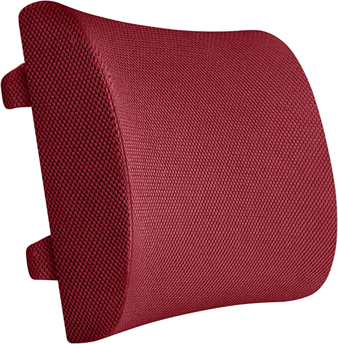 Everlasting Comfort 100% Pure Memory Foam Back Cushion - Lumbar Support Back Pillow - Fits Car Seat and Office Chair - Lower Back Pain Relief (Red)