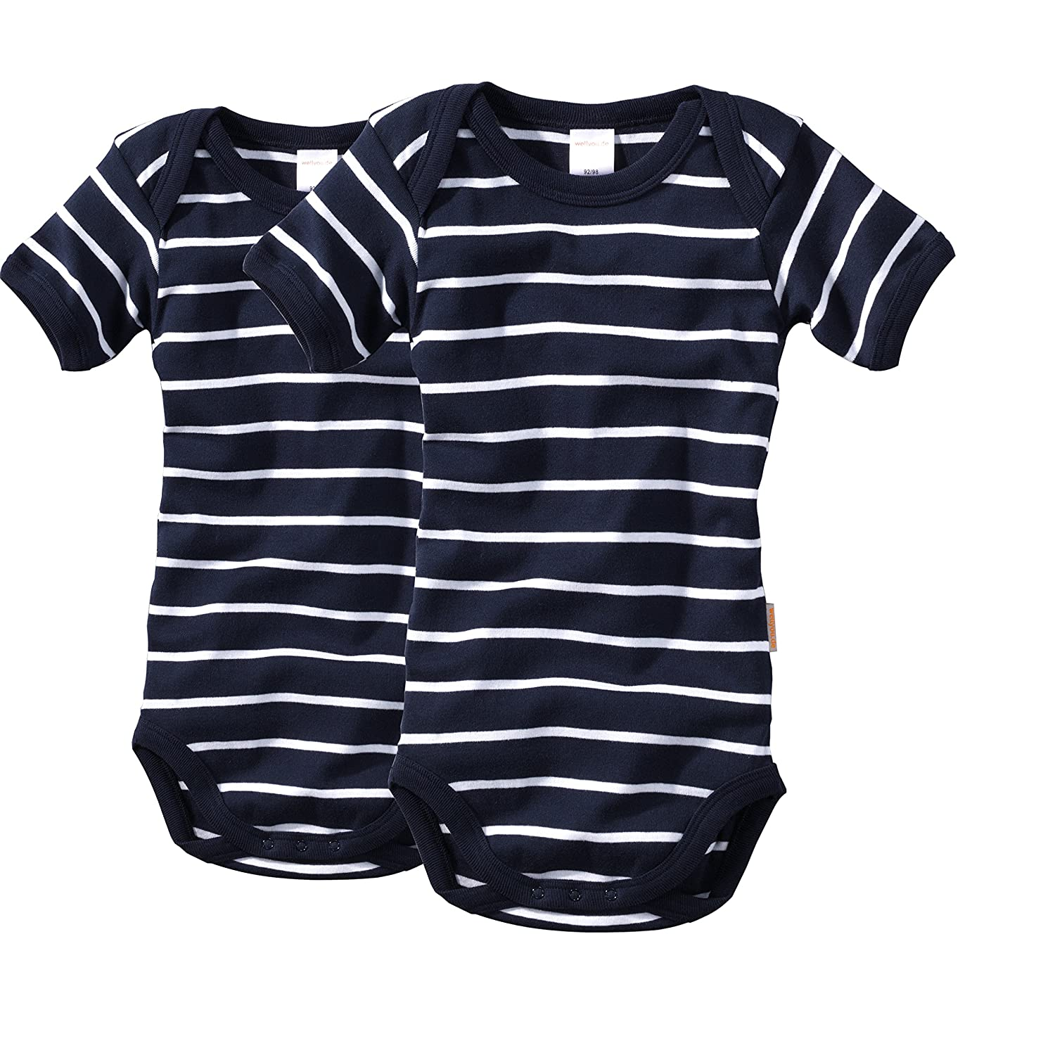 wellyou 2-Pack of Baby Todler Child Bodysuit Short Sleeved Dark Blue and White Loops