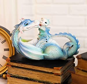 Ebros 'Morning Bath' Whimsical Cloud Blue Mother Dragon Licking Baby Dragon Statue 7.5