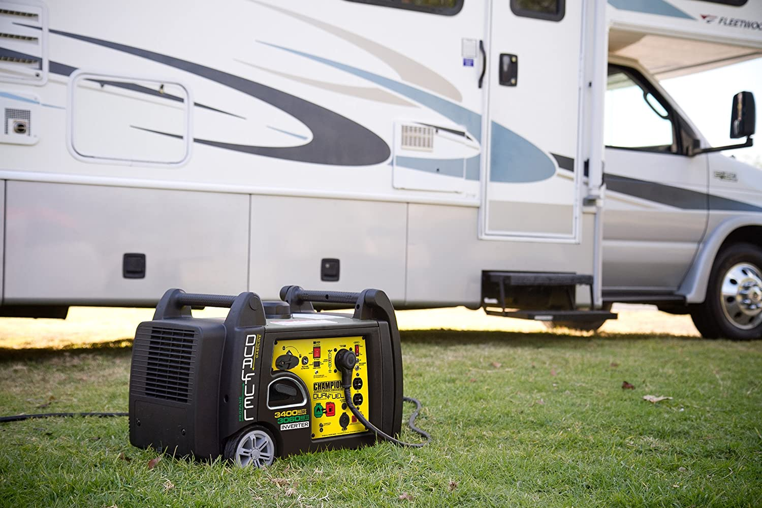Champion 3400 Watt Dual Fuel Rv Ready Portable Inverter How Does An Work In Generator With Electric Start Garden Outdoor