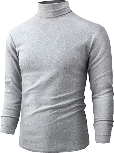jonivey Mens Basic Turtleneck Long Sleeve Solid Casual Knitted T-Shirt Pullover Tops