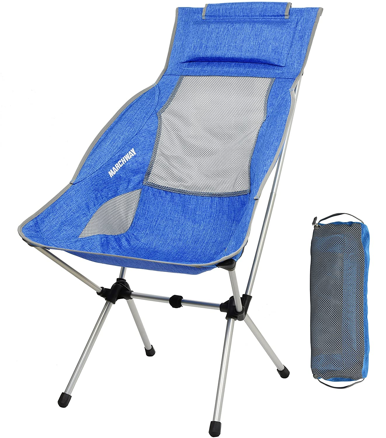 Lightweight Folding High Back Camping Chair with Headrest Portable Compact for Outdoor Camp Light Green Backpacking Travel Hiking Festival Picnic