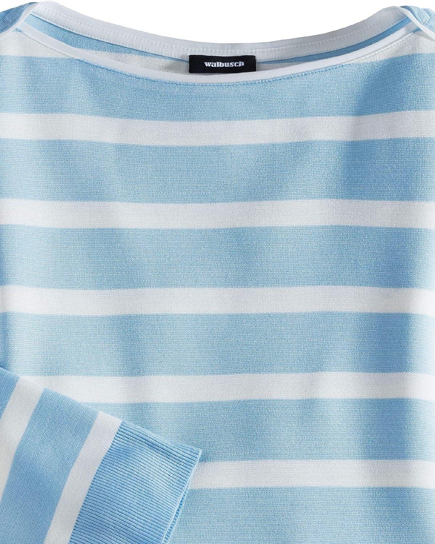 Walbusch Damen Streifen Sweatshirt 2in1 gestreift Skyblue/Weiß