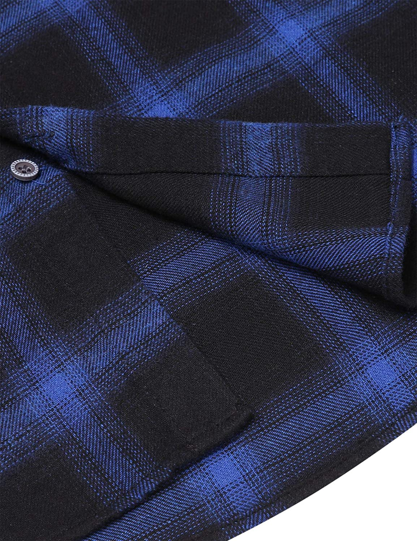 COOFANDY Mens Denim Shirt Slim Fit Casual Long Sleeve Button Down Plaid Stitching Shirts