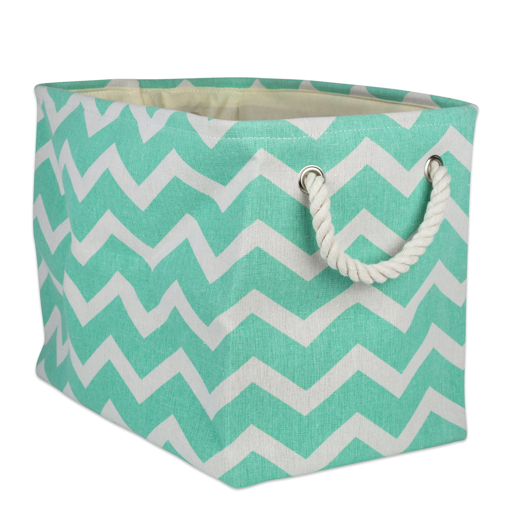 DII Collapsible Polyester Storage Basket or Bin with Durable Cotton Handles, Home Organizer Solution for Office, Bedroom, Closet, Toys, & Laundry(Medium - 16x10x12''), Aqua Chevron