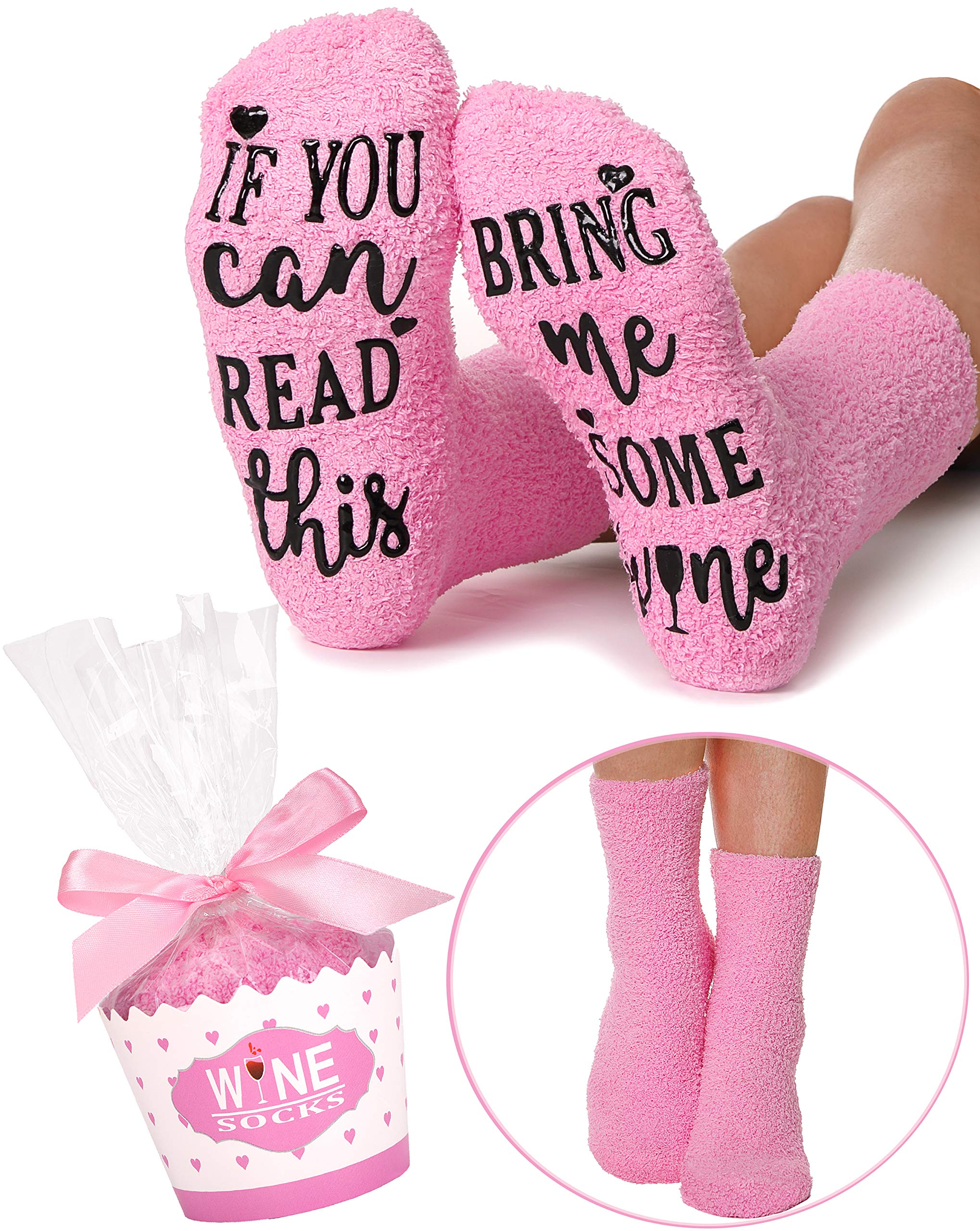 If You Can Read This Bring Me Some Wine Socks Novelty Fuzzy Funny Socks Christmas Gift (Wine) (Pink)