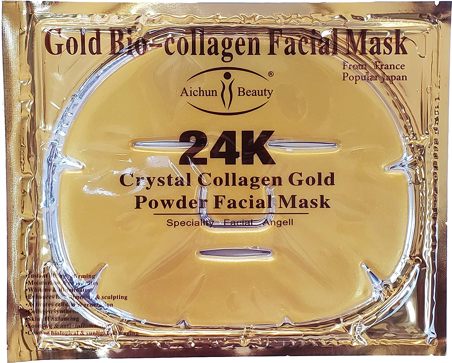 AICHUN BEAUTY 5PCS 24K Gold Gel Collagen Crystal Facial Masks Sheet Patch For Anti Aging, Whitening, Puffiness, Anti Wrinkle, Moisturizing, Deep Tissue Rejuvenation and Hydrates Skin