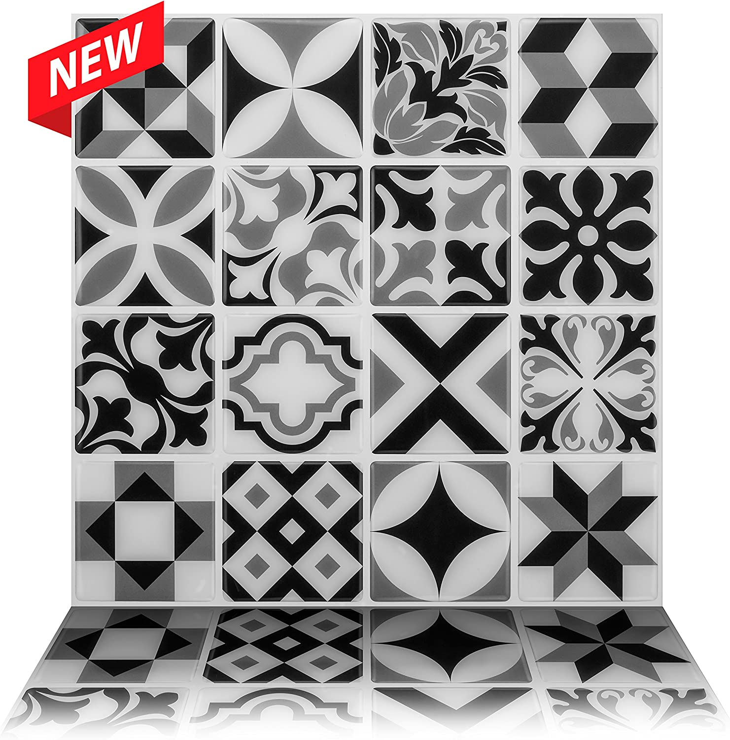 Tic Tac Tiles Peel and Stick Self Adhesive Removable Stick On Kitchen Backsplash Bathroom 3D Wall Sticker Wallpaper Tiles in Moroccan Mono (5)