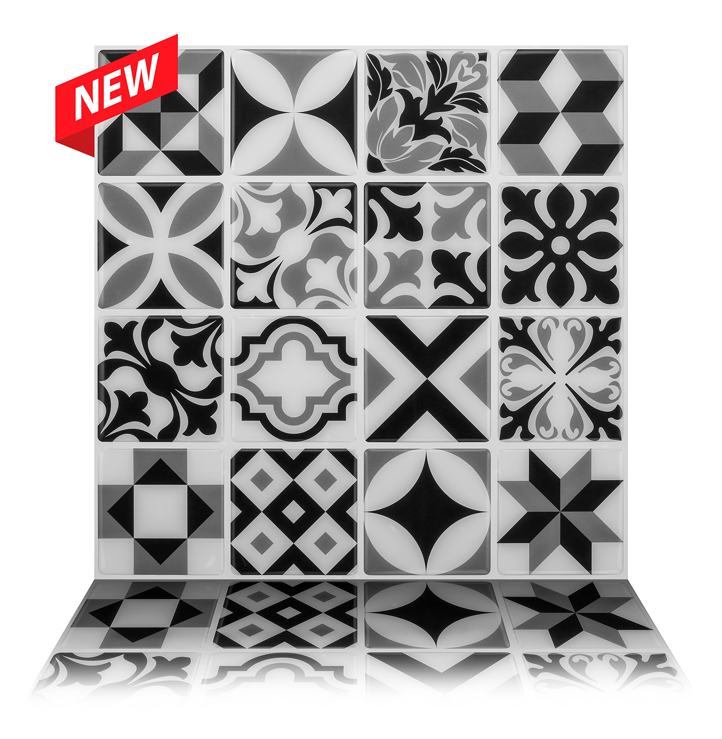 Tic Tac Tiles Premium Anti Mold Peel and Stick Wall Tile in Moroccan Mono (10 Tiles)