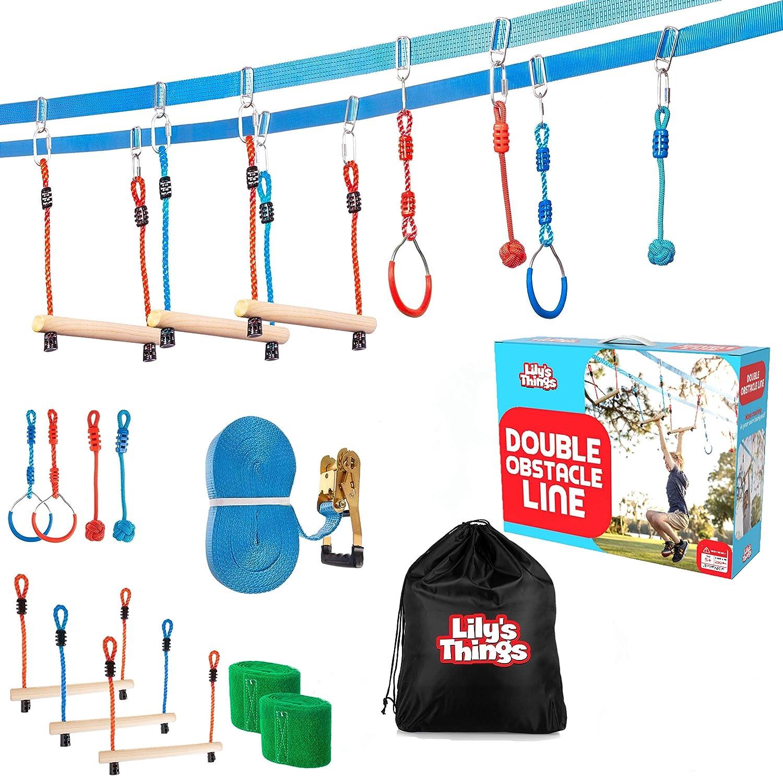 Ninja Slackline Obstacle Course for Kids 80 Feet - Monkey Bars Playground Equipment - Ninja Warrior Course with Monkey Bars for Kids - Ninja Ropes Course for Kids - Patent Pending Double Line Design