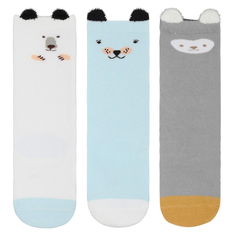 ANIMQUE 3 pares calcetines de algod/ón largos para beb/é 0-36 meses ni/ños ni/ñas calcetines hasta la rodilla dibujos animados animal calcetines de becerro casual transpirable c/ómodo
