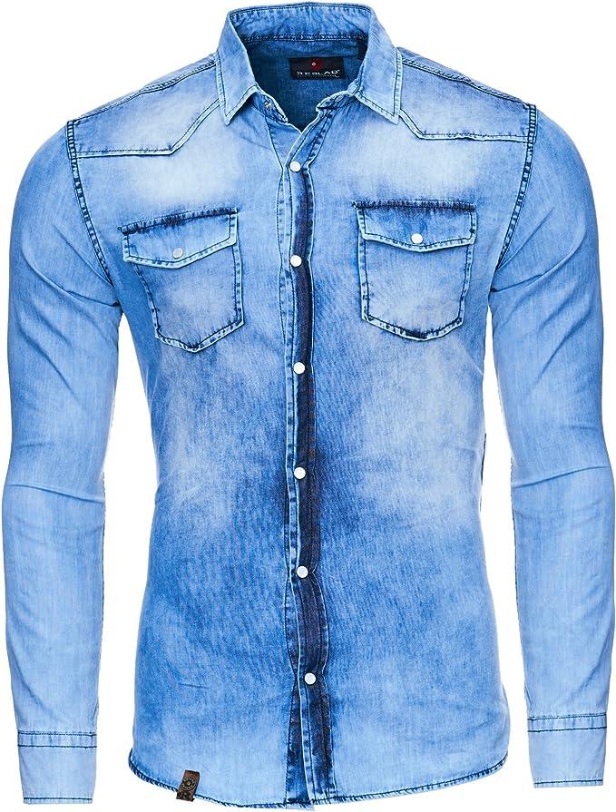 Reslad Camisa vaquera para hombre Slim Fit Vintage Denim Camisa vaquera color azul desgastado | Camisa de ocio 100% algodón RS-7109 azul S: Amazon.es: Ropa y accesorios