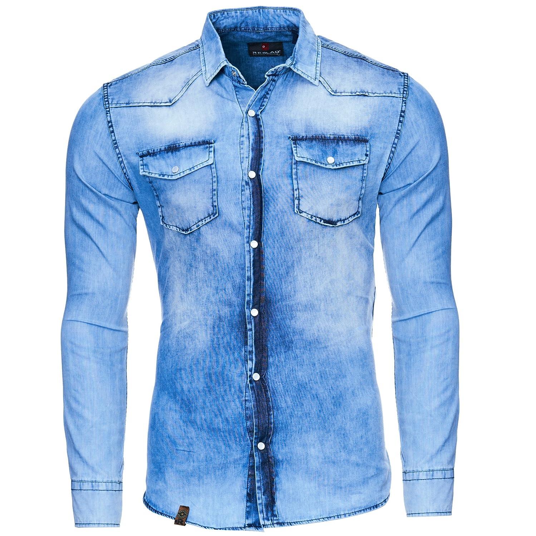 Reslad Camisa vaquera para hombre Slim Fit Vintage Denim Camisa vaquera color azul desgastado | Camisa de ocio 100% algodón RS-7109