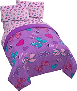 Jay Franco Nickelodeon JoJo Siwa Dream Believe 5 Piece Full Bed Set - Includes Reversible Comforter & Sheet Set - Super Soft Fade Resistant Polyester - (Official Nickelodeon Product)