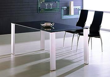 MaisonOutlet Tavolo Design Vetro Scuro e Alluminio Pranzo Soggiorno Cucina  o Studio - Prezzo Outlet Online