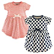 Touched by Nature Baby Girls' Organic Cotton Dress, Scribbles Short Sleeve 2-Pack 12-18 Months (18M)