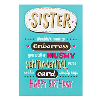Hallmark Sister Birthday Card Sentimental Medium Amazon