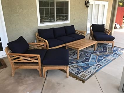 Amazon.com : Iksun Teak malibu6pccarbon Teak Patio Furniture ...